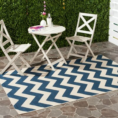 Jefferson Place Navy & Beige Outdoor/Indoor Area Rug I Rug Size: Runner 27 x 5