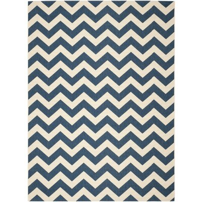 Jefferson Place Navy & Beige Outdoor/Indoor Area Rug I Rug Size: 9 x 12