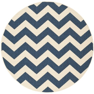 Jefferson Place Navy/Beige Indoor/Outdoor Area Rug Rug Size: Round 53