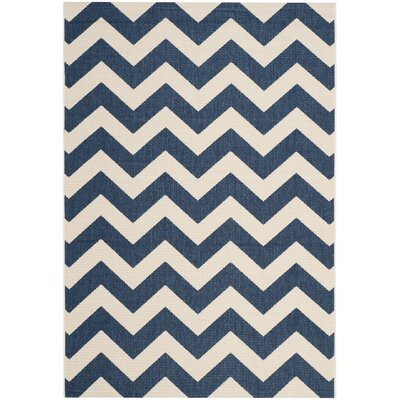 Jefferson Place Navy & Beige Outdoor/Indoor Area Rug I Rug Size: 53 x 77