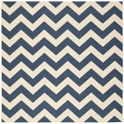 Jefferson Place Navy/Beige Indoor/Outdoor Area Rug Rug Size: Square 53