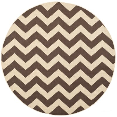 Jefferson Place Dark Brown Outdoor Area Rug Rug Size: Round 67
