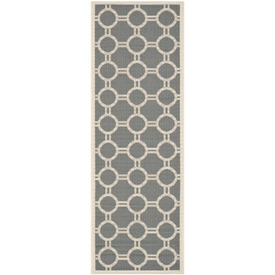 Jefferson Place Anthracite/Beige Outdoor Area Rug Rug Size: Rectangle 27 x 5
