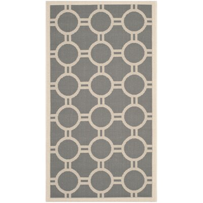 Jefferson Place Anthracite/Beige Outdoor Area Rug Rug Size: 53 x 77
