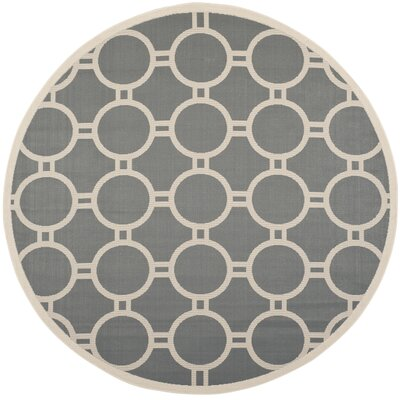 Jefferson Place Anthracite/Beige Indoor/Outdoor Area Rug Rug Size: Round 710