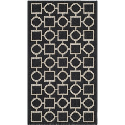 Jefferson Place Black / Beige Outdoor Rug Rug Size: 2 x 37