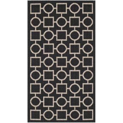 Jefferson Place Black / Beige Outdoor Rug Rug Size: Rectangle 8 x 11
