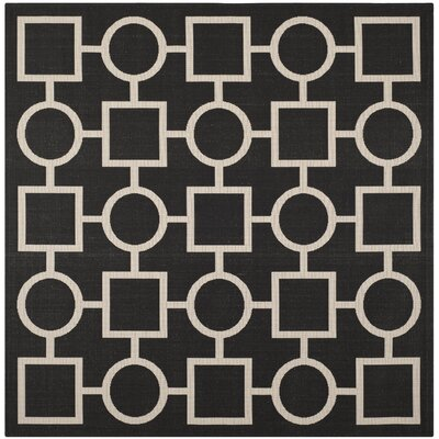 Jefferson Place Black / Beige Outdoor Rug Rug Size: Square 710
