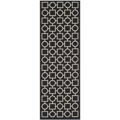 Jefferson Place Black / Beige Outdoor Rug Rug Size: Rectangle 27 x 5