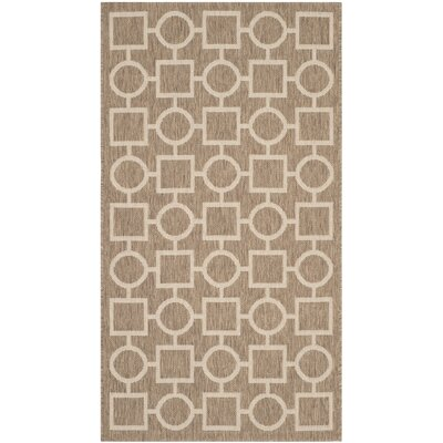 Jefferson Place Brown / Bone Outdoor Rug Rug Size: Rectangle 27 x 5