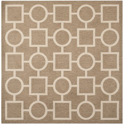 Jefferson Place Brown / Bone Outdoor Rug Rug Size: Square 710