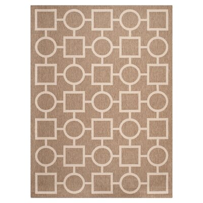 Jefferson Place Brown / Bone Outdoor Rug Rug Size: Rectangle 53 x 77