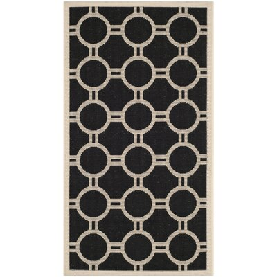 Jefferson Place Black/Beige Outdoor Rug Rug Size: Rectangle 53 x 77