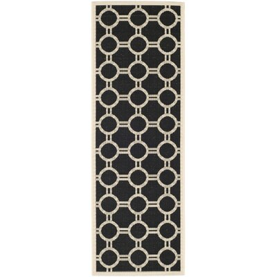 Jefferson Place Black/Beige Outdoor Rug Rug Size: Rectangle 27 x 5