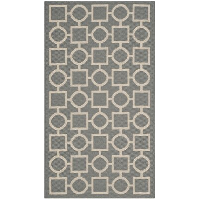 Jefferson Place Anthracite & Beige Outdoor Area Rug Rug Size: 2 x 37