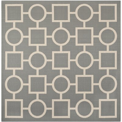 Jefferson Place Anthracite & Beige Outdoor Area Rug Rug Size: Square 710