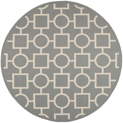 Jefferson Place Anthracite & Beige Outdoor Area Rug Rug Size: Round 710