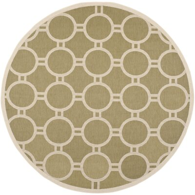 Jefferson Place Green/Beige Outdoor Rug Rug Size: Round 710