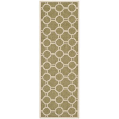 Jefferson Place Green/Beige Outdoor Rug Rug Size: Runner 23 x 67