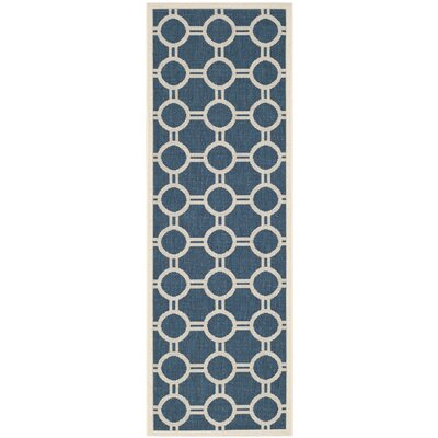Jefferson Place Navy/Beige Outdoor Area Rug Rug Size: Runner 23 x 67