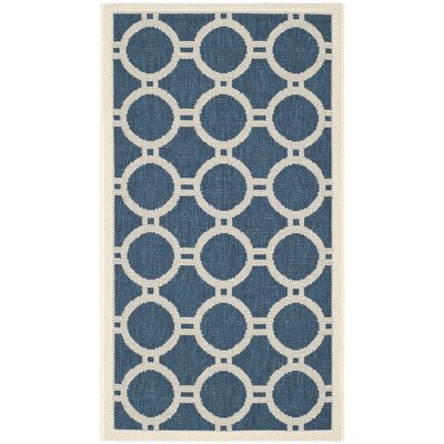 Jefferson Place Navy/Beige Outdoor Area Rug Rug Size: Rectangle 53 x 77