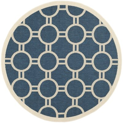 Jefferson Place Navy/Beige Outdoor Area Rug Rug Size: Round 53