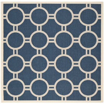 Jefferson Place Navy/Beige Outdoor Area Rug Rug Size: Square 67