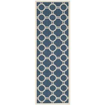 Jefferson Place Navy/Beige Outdoor Area Rug Rug Size: Runner 23 x 10