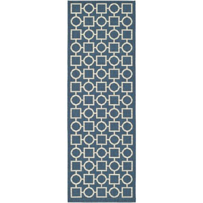 Jefferson Place Navy/Beige Indoor/Outdoor Rug Rug Size: Runner 23 x 10