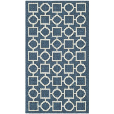 Jefferson Place Navy/Beige Outdoor Rug Rug Size: 67 x 96