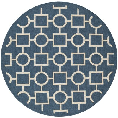 Jefferson Place Navy/Beige Indoor/Outdoor Rug Rug Size: Round 67