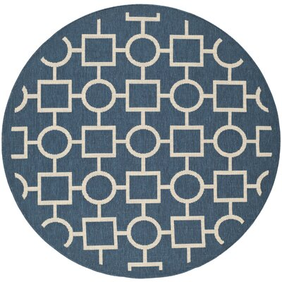 Jefferson Place Navy/Beige Indoor/Outdoor Rug Rug Size: Round 53
