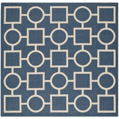 Jefferson Place Navy/Beige Indoor/Outdoor Rug Rug Size: Square 67