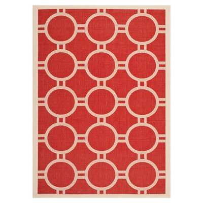 Jefferson Place Red/Bone Outdoor Rug Rug Size: Rectangle 8 x 11