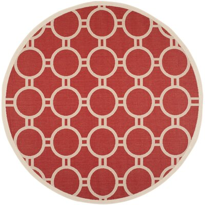 Jefferson Place Red/Bone Outdoor Rug Rug Size: Round 710