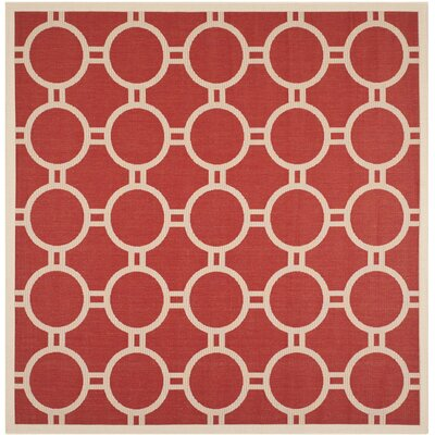 Jefferson Place Red/Bone Outdoor Rug Rug Size: Square 710