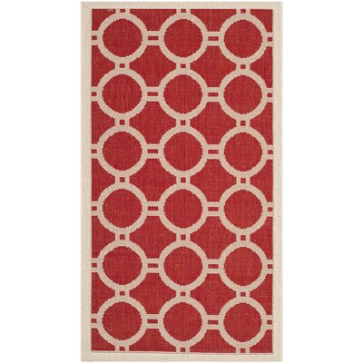 Jefferson Place Red/Bone Outdoor Rug Rug Size: Rectangle 2 x 37