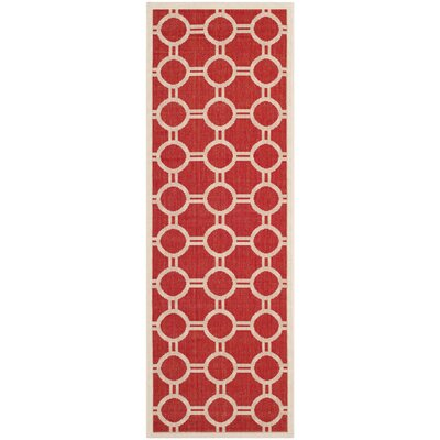 Jefferson Place Red/Bone Outdoor Rug Rug Size: Runner 23 x 67