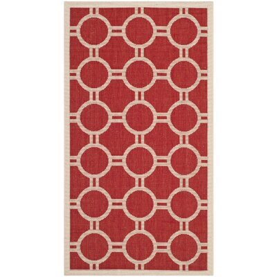 Jefferson Place Red/Bone Outdoor Rug Rug Size: Rectangle 4 x 57
