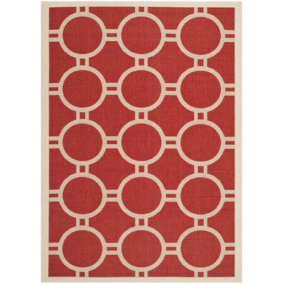 Jefferson Place Red/Bone Outdoor Rug Rug Size: 53 x 77