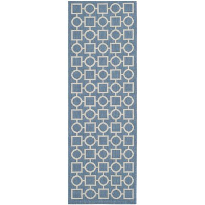 Jefferson Place Blue/Beige Outdoor Area Rug Rug Size: Runner 23 x 67