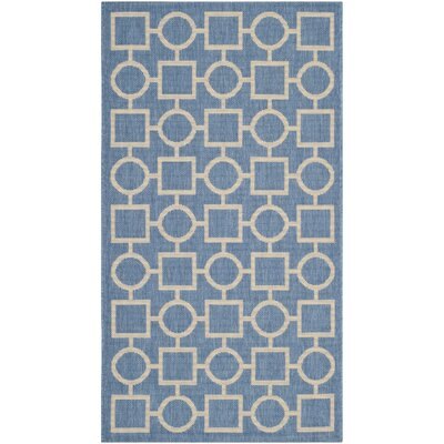 Jefferson Place Blue/Beige Outdoor Area Rug Rug Size: Rectangle 27 x 5