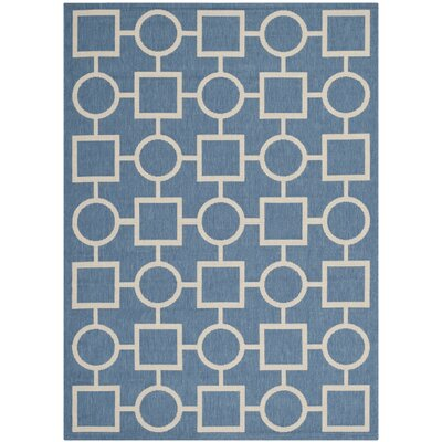 Jefferson Place Blue/Beige Outdoor Area Rug Rug Size: 53 x 77