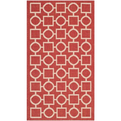 Jefferson Place Red/Bone Outdoor Area Rug Rug Size: 2' x 3'7