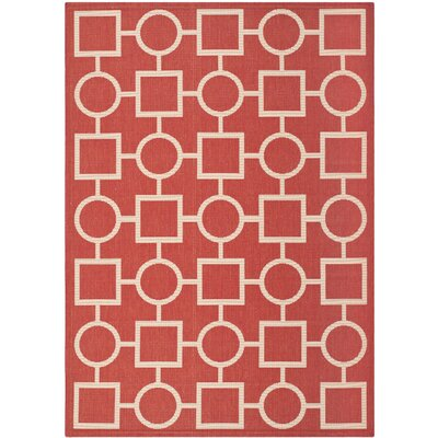 Jefferson Place Red/Bone Outdoor Area Rug Rug Size: 53 x 77