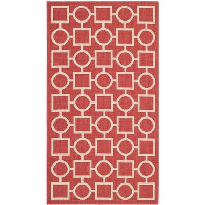 Jefferson Place Red/Bone Outdoor Area Rug Rug Size: 4' x 5'7