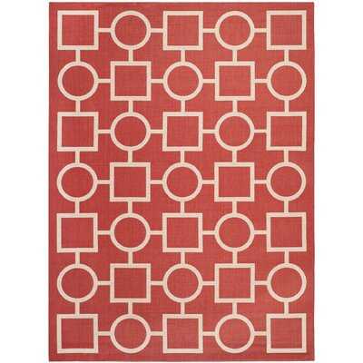 Jefferson Place Red/Bone Outdoor Area Rug Rug Size: Rectangle 8 x 11