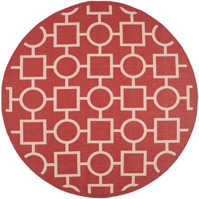 Jefferson Place Red/Bone Outdoor Area Rug Rug Size: Round 710