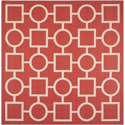Jefferson Place Red/Bone Outdoor Area Rug Rug Size: Square 710