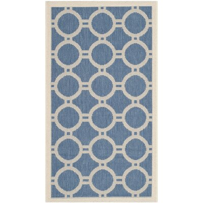 Jefferson Place Blue & Beige Outdoor Area Rug Rug Size: 53 x 77
